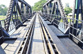 Railway on the iron bridge Royalty Free Stock Photo