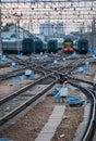 Railway junction. Stock Photo