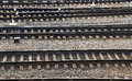 Railway junction perspective of crossing rails Stock Photography