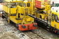 Railway machinery for service and repairing parked Royalty Free Stock Image