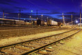 Railway at night Stock Image