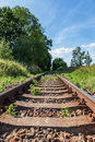Railway old rusty track detail with landscape Royalty Free Stock Photo