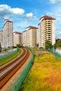 Railway passing through housing area Royalty Free Stock Photo
