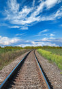 Railway perspective and blue cloudy sky with green grass Royalty Free Stock Images