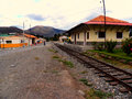 Railway railroad station among the mountains Stock Images