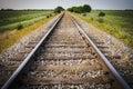 Railway, Railroad, Train Tracks, With Green Pasture Early Mornin Royalty Free Stock Photo