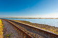 Railway on the shore of atlantic ocean in portugal Royalty Free Stock Photo