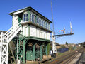 Railway signal box Stock Photo