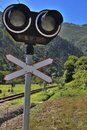 Railway signal in northern spain Royalty Free Stock Photography