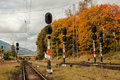 Railway signals in the train station of predeal romania Royalty Free Stock Images