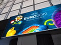 Railway Station and Euro 2012 Banner in Warsaw Royalty Free Stock Photo