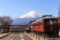 Railway station at kawaguchiko for scenery of mt fuji japan april carnergie model train front in Stock Photo