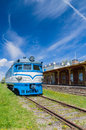 Railway station museum building and locomotive in Haapsalu Royalty Free Stock Photo