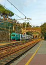 Railway station with train italy Royalty Free Stock Images