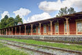 Railway station wooden empty in summer at cloudy day Stock Images
