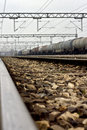 Railway stations in serbia detail lines freight trains in the background Royalty Free Stock Photography