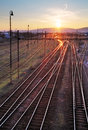 Railway sunet sun Stock Photos