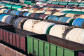 Railway tanks for mineral oil and other cargoes at shunting yard Stock Photo
