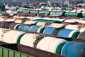Railway tanks for mineral oil and other cargoes at shunting yard Stock Image