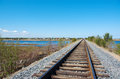 Railway to horizon under cloudy blue sky Stock Image