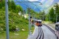 Railway to matterhorn valais switzerland from zermatt Royalty Free Stock Photography