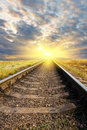 Railway to sunset Royalty Free Stock Photo