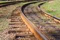 Railway track bending of the old Stock Images