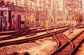 The railway track complexity of Royalty Free Stock Photography