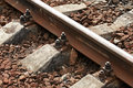 Railway track details closeup photo Stock Photo