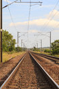 Railway track an electrified in northern england Stock Images