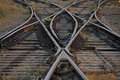 The railway track merging, Set of Points on Railway Train Track Royalty Free Stock Photography