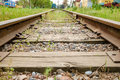 Railway track with old trains Royalty Free Stock Photo