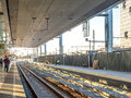 Railway track at station in ghent belgium during sunset light time Stock Photos