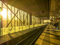 Railway track at station in ghent belgium during sunset light time Royalty Free Stock Image