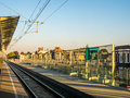 Railway track at station in ghent belgium during sunset light time Stock Images