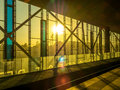 Railway track at station in ghent belgium during sunset light time Royalty Free Stock Photo