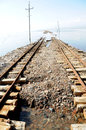 Railway tracks in Caka Salt Lake Stock Image
