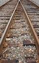Railway tracks closeup view of Royalty Free Stock Photo