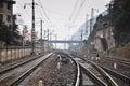 Railway tracks convergence Royalty Free Stock Photo