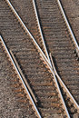 Railway tracks with crossing low angel view to Royalty Free Stock Photos