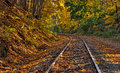 Railway tracks with fall foliage Royalty Free Stock Photo