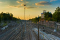 Railway Tracks in Helsinki Royalty Free Stock Photo