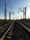 Railway tracks in the industrial zone of the city. Travel. Royalty Free Stock Photo