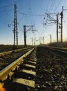 Railway tracks in the industrial zone. Nature. Royalty Free Stock Photo