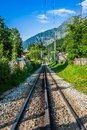 Railway tracks in a rural scene france europe Royalty Free Stock Images