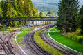 Railway tracks in a rural scene france europe Royalty Free Stock Image