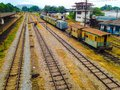 Railway train station track railroad track Stock Images