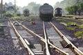 Railway and trains on raiload Stock Photo