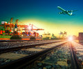 Railway transport in import export shipping port and cargo plane Royalty Free Stock Photo