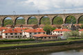 Railway viaduct, Berwick on Tweed. Royalty Free Stock Images